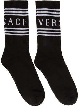 Versace Black Ribbed Athletic Socks