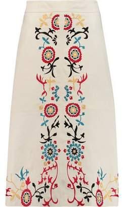 Alice + Olivia Giselle Embroidered Leather Skirt