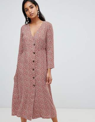 Vila ditsy floral button through midi dress