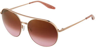 Barton Perreira Luna Round Mirrored Sunglasses w/Brow Bar