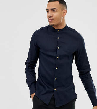 Asos Design DESIGN Tall slim fit linen mix shirt with grandad collar in navy
