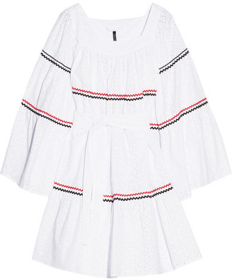 Rickrack-trimmed Broderie Anglaise Cotton Dress - White