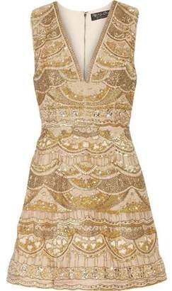 Alice + Olivia Embellished Silk Crepe De Chine Mini Dress