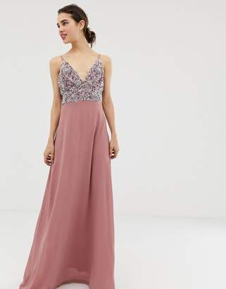 dc869eca2224 Angeleye AngelEye cami strap maxi dress with pleated skirt and embellished  upper