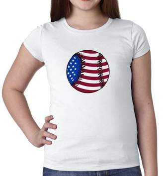 Hollywood Thread Baseball American Flag - USA Red White & Blue Girl's Cotton Youth T-Shirt