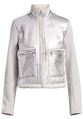 Majestic Filatures Women's Mixed-Media Cotton & Leather Faux Shearling-Lined Jacket