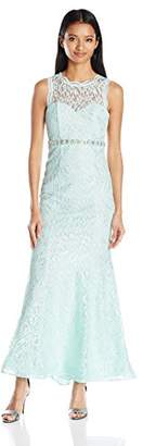 My Michelle Sequin Hearts by Junior's Long Prom Dress with All Over Lace and Jeweled Belt