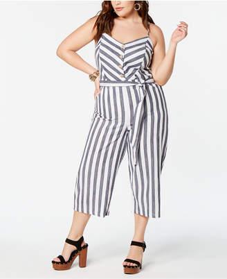 ea14e517d14 Planet Gold Trendy Plus Size Cotton Striped Jumpsuit