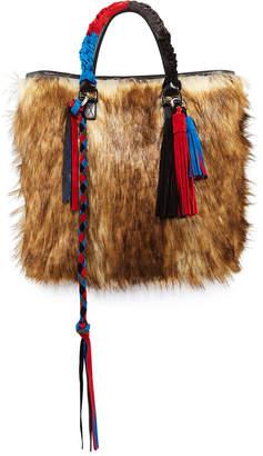 Sacai Tassel Furry Crossbody Tote Bag