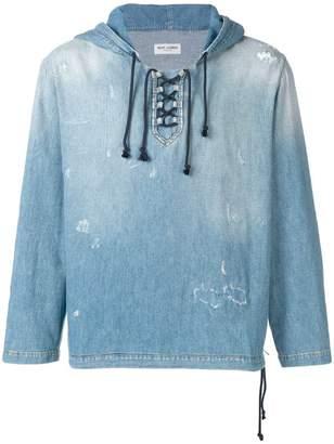 Saint Laurent destroyed denim hoodie