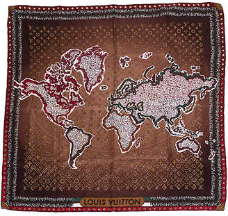 One Kings Lane Vintage Louis Vuitton World Map Monogram Scarf - Vintage Lux