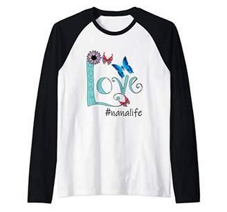 Womens Love #nanalife Nana Life Heart Flower Art Shirt Raglan Baseball Tee