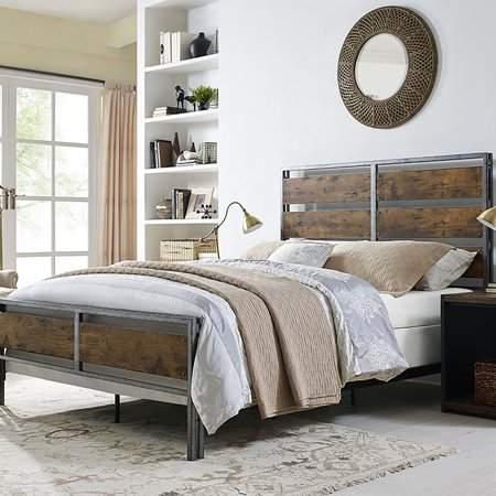 Walker Edison Queen Size Metal and Wood Plank Bed - Brown (Multiple Colors Available)
