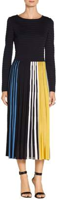 St. John Multicolor Engineered Ombre Place Stripe Knit Dress