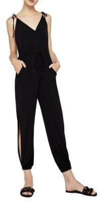 BCBGeneration Sleeveless Tie-Shoulder Surplice Jumpsuit