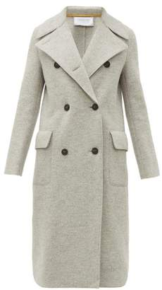 Harris Wharf London Wide Lapel Double Breasted Boiled Virgin Wool Coat - Womens - Light Grey