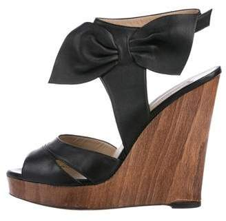 Valentino Leather Bow Wedges