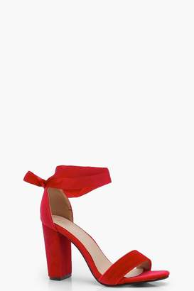 boohoo Block Heel Ribbon Tie Up Heels
