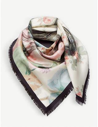 Loewe Roses-print silk scarf