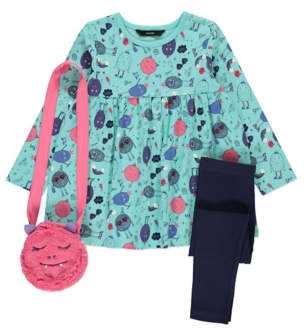 George Blue Monster Print Dress, Leggings and Bag Outfit