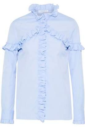Sandro Suzy Ruffle-Trimmed Cotton-Poplin Shirt