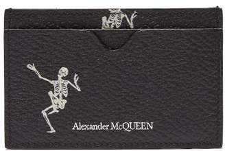 Alexander McQueen Skeleton Print Leather Cardholder - Mens - Black White