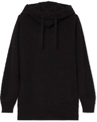 James Perse Waffle-knit Cashmere Hoodie - Black