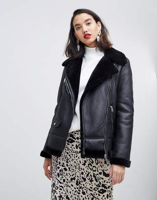 Vero Moda Faux Fur Aviator Jacket