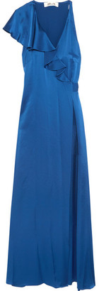 Diane von Furstenberg - Ruffled Satin Wrap Maxi Dress - Royal blue $550 thestylecure.com