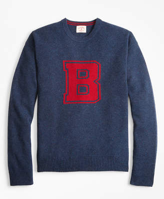 Brooks Brothers Donegal Wool Crewneck Letter Sweater