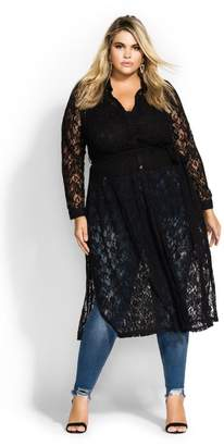 City Chic Citychic Lacey Longline Top - black