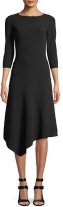 Michael Kors 3/4-Sleeve Stretch-Wool Crepe Asymmetrical Dress