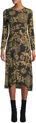 Donna Morgan Long-Sleeve Ruched Floral-Print Jersey Shift Dress