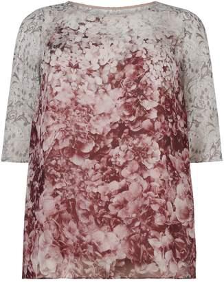 Marina Rinaldi Sheer Silk Overlay Top