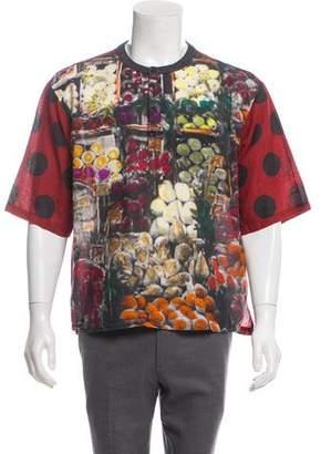 Dolce & Gabbana Linen-Blend Button-Up T-Shirt