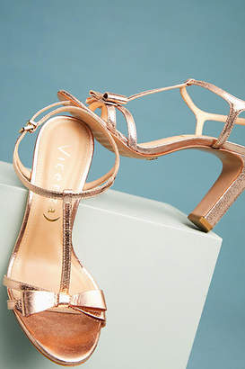 Vicenza Metallic Bow T-Strap Heels