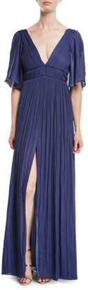 Halston Flowy Gown w/ Capelet & Pleating