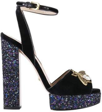 Gucci Heeled Sandals Soko Sandals In Soft Velvet With Applied Metal Bee And Maxi Glitter Heels