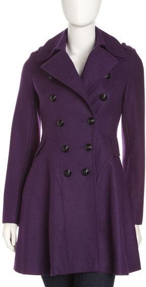 Via Spiga Skirted Double-Breasted Coat, Purple