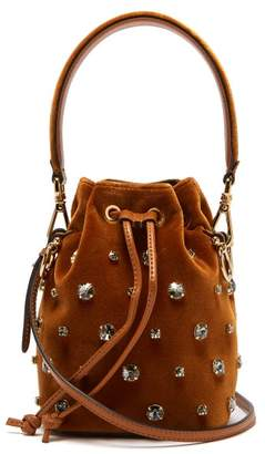 Fendi My Secrets Crystal Embellished Velvet Bucket Bag - Womens - Brown Multi
