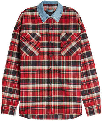 Fear Of God Plaids Cotton Shirt with Denim Collar
