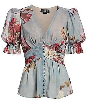 PatBO Women's Puff-Sleeve Peony Print Chiffon Blouse