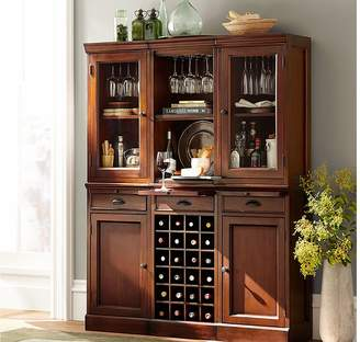 Pottery Barn Modular Bar System with 2 Glass Door Hutch And 1 Open Hutch