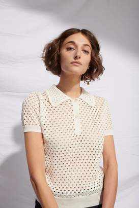 Le Mont St Michel Off White Cotton Eyelet Polo Sweater - XL - Natural