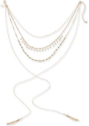 "INC International Concepts I.n.c. Rose Gold-Tone Imitation Pearl, Bead and Tassel Lariat Choker Necklace, 12"" + 3"" extender"
