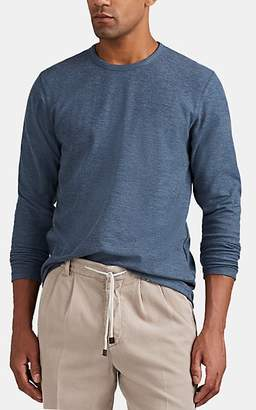 Barneys New York MEN'S MESH-KNIT COTTON-BLEND SHIRT - BLUE SIZE XXL