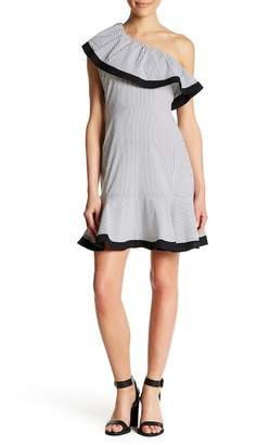 Lucy Paris Dakota One Shoulder Stripe Dress