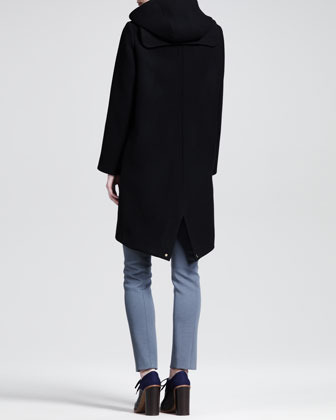 Chloé Hooded Golden-Zipper Wool Coat