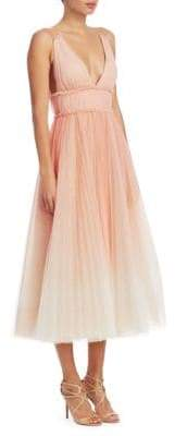 Marchesa Pleated Cold-Shoulder Gown