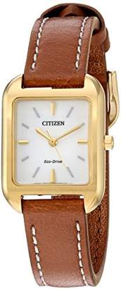 Citizen Women's 'Silhouette' Quartz Stainless Steel and Leather Casual Watch